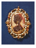 Cameo Bearing the Profile Head of the Goddess Diana, with a Drop-Pearl Earring Giclee Print by  Austrian