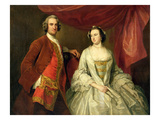 A Man and a Woman, Possibly of the Missing Family, of Little Park House, Wickham, Hampshire, 1747 Giclee Print by George Knapton
