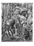 The Hunts of Maximilian, Leo, the Stag Hunt, the Report, Gobelins Factory (Tapestry) (B/W Photo) Giclee Print by Bernard van Orley
