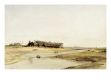 Ship Building (W/C on Paper) Giclee Print by William Callow