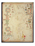 The Mediterranean Basin, from a Nautical Atlas, 1646 (Ink on Vellum) (See also 330937-330938) Giclee Print by  Italian