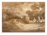 Mountain Landscape with Figures, Sheep and Fountain, C.1785-88 Giclee Print by Thomas Gainsborough