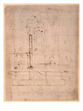 Design for the Tomb of Pope Julius Ii (1453-1513) (Brown Ink on Paper) (Verso) Giclee Print by  Michelangelo Buonarroti
