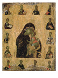 Virgin of Tenderness with the Saints, 1350-1400 (Egg Tempera and Gesso on Panel) Giclee Print by  Byzantine