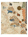 Marseille, Genoa and Venice, from a Nautical Atlas, 1646 (Ink on Vellum) (Detail from 330937) Giclee Print by  Italian