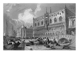 The Grand Canal and Doge's Palace, Venice, Engraved by Charles Westwood, 1844 (Engraving) Giclee Print by Samuel Prout