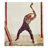 The Woodman, 1910 (Oil on Canvas) Gicleetryck av Ferdinand Hodler
