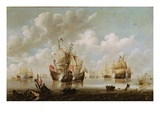 Naval Battle (Oil on Canvas) Giclée-Druck von Willem Van De, The Younger Velde