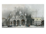 Basilica Di San Marco, Venice (Coloured Engraving) Giclee Print by Giovanni Pividor