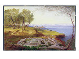 Corfu from Ascension, C.1856-64 (Oil on Canvas) Giclée-Druck von Edward Lear