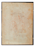 Study of Two Male Figures (Red Chalk on Paper) (Verso) Giclee Print by  Michelangelo Buonarroti