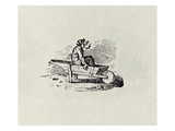A Man in a Wheelbarrow from &#39;History of British Birds and Quadrupeds&#39; Publ 1815 (B/W Engraving) Giclee Print by Thomas Bewick