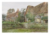 Thatched Cottages and Cottage Gardens, 1881 (W/C and Graphite on Paper) Premium Giclee Print by John Fulleylove
