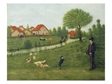 Child with Geese (Oil on Canvas) Reproduction procédé giclée par Louis Vivin