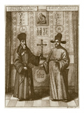 Matteo Ricci (1552-1610) and Paulus Li, from 'China Illustrated' by Athanasius Kircher (1601-80) Giclee Print by  Dutch