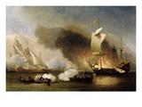 An Action Off the Barbary Coast with Galleys and English Ships, C.1695 (Oil on Canvas) Gicl&#233;e-Druck von Willem Van De, The Younger Velde