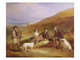 Edward Horner Reynard and His Brother, George, Grouse Shooting with the Keeper, Tully Lamb Giclee Print by John E. Ferneley