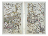 Map of East London, Plates 20-21, from 'Cary's Actual Survey of Middlesex', 1786 Giclee Print by John Cary