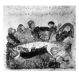 Ms.Arabe 5847 Fol.11 a Caravan Rest, from 'Le Maqamat De Al'Hariri' by Yaya Ibn Mahmud Al-Wasiti Giclee Print by  Persian