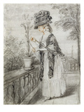 Lady on a Terrace Tending a Carnation Plant (Black, Red and White Chalk on Paper) Giclee Print by John Raphael Smith