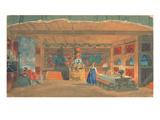 Stage Design for Rimsky-Korsakov's Opera the 'The Tsar's Bride', 1920 (W/C and Gouache on Paper) Giclee Print by Boris Mihajlovic Kustodiev