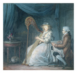 The Beautiful Harpist (Gouache on Paper) Giclee Print by Jean Baptiste Mallet