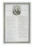 Charter of Louis Xviii (1755-1824) 1814 (Engraving) Premium Giclee Print by  French