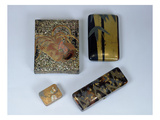 Writing Case Decorated with a Cockerel, Writing Case with a Bamboo Design and a Kobako Giclee Print by  Japanese