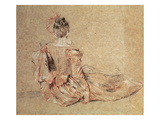 Study of a Woman Seen from the Back, 1716-18 (Chalk on Paper) Giclee Print by Jean Antoine Watteau