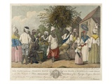 A Dance in the Island of St. Dominica (Colour Engraving) Giclee Print by Agostino Brunias