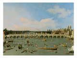 Westminster Bridge, London, with the Lord Mayor's Procession on the Thames (Oil on Canvas) Giclee Print by Canaletto