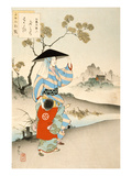 Woman and Child (Colour Woodblock Print) Giclee Print by Ogata Gekko