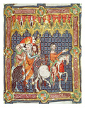 Fol.10r Alfonso VII (1105-57) and His Wife, Berenguela of Barcelona, Led to Meet the Archbishop Giclee Print by  Spanish