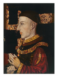 Portrait of Henry V (1387-1422) (During Restoration) (Oil on Panel) (See 99913) Premium Giclee Print by  English