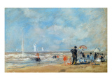 On the Beach, 1863 (W/C and Pastel on Paper) Giclee Print by Eugene Louis Boudin