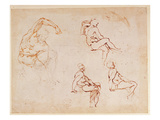 Figure Studies for a Man (Brown Ink) Giclee Print by  Michelangelo Buonarroti