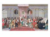 James II (1633-1701) Receiving the Mathematical Scholars of Christ's Hospital Gouache on Paper) Giclee Print by Antonio Verrio