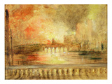 The Burning of the Houses of Parliament, Previously Attributed to J.M.W. Turner (1775-1851) Giclee Print by  English