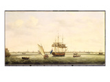 The Frigate &#39;surprise&#39; at Anchor Off Great Yarmouth, Norfolk, C.1775 (Oil on Canvas) Giclee Print by Francis Holman