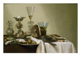 Still Life with Oysters and Nuts, 1637 (Oil on Panel) Premium Giclée-tryk af Willem Claesz. Heda