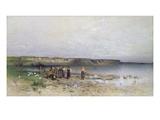 Lake Balaton with the Shore of Akarattya, 1885 Premium Giclee Print by Geza Meszoly