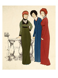 Three Ladies in Dresses (Colour Lithograph) Giclee Print by Paul Iribe