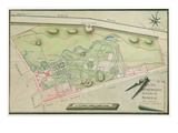 Plan of the Parc Monceau, 1803 (Pen and Ink and W/C on Paper) Giclee Print by  Lauly