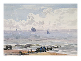 Seascape from the Beach, () Aldeburgh (W/C on Paper) Giclee Print by Thomas Churchyard