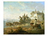 A Stage Coach on a Country Road, 1792 (Oil on Panel) Giclee Print by Julius Caesar Ibbetson