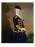 Portrait of Nancy Fortesque Wearing a Dark Blue Riding Habit Giclee Print by Thomas Hudson