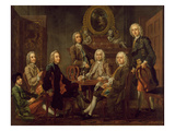Portrait of a Group of Gentlemen, with the Artist, c.1745 Giclee Print by Francis Hayman