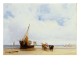 Beached Vessels and a Wagon Near Trouville, C.1825 (Oil on Canvas) Giclee Print by Richard Parkes Bonington