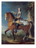 Equestrian Portrait of Louis XV (1710-74) at the Age of Thirteen, 1723 Giclee Print by C. Parrocel