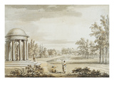 The Rotunda and the Queen's Theatre, Stowe, 1753 (W/C on Paper) Giclee Print by Jean Baptiste Claude Chatelain